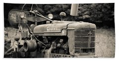 Old Tractor Black And White Square Beach Sheet by Edward Fielding