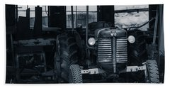 Old Tractor In The Barn Beach Towel