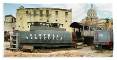 Old Trains Being Restored, Havana, Cuba Beach Sheet by Panoramic Images