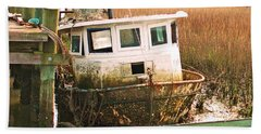 Old Tugboat By Jan Marvin Beach Sheet