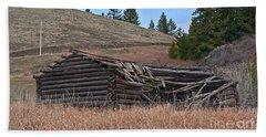 Old Turn Of The Century Log Cabin Homestead Art Prints Beach Towel