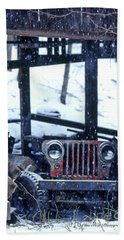1g25 Old Willys Jeep In Old Barn Beach Towel
