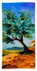 Olive Tree On The Hill Beach Sheet