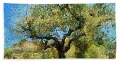 Olive Tree On Van Gogh Manner Beach Sheet