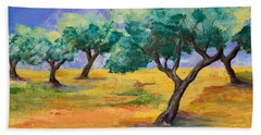 Olive Trees Grove Beach Towel
