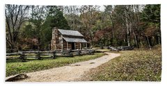 Beach Towel featuring the photograph Oliver's Log Cabin by Debbie Green