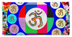 Om Mantra Dedication  Devotion Symbol Assembly By Artist N Reiki Healing Master Navinjoshi Beach Sheet