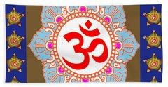 Beach Towel featuring the photograph Om Mantra Ommantra Chant Yoga Meditation Tool by Navin Joshi