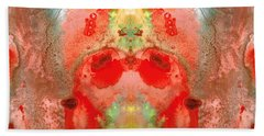 Om - Red Meditation - Abstract Art By Sharon Cummings Beach Towel