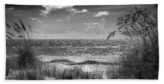 On A Clear Day-bw Beach Towel