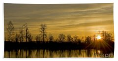 Beach Towel featuring the photograph On Golden Pond by Nick  Boren