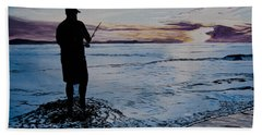On The Beach Fishing At Sunset Beach Sheet by Ian Donley