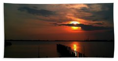 On The Boardwalk Beach Towel by Debra Forand