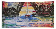 On The Hour. The Sailboat And The Steel Bridge Beach Towel