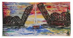 Beach Towel featuring the painting On The Hour. The Sailboat And The Steel Bridge by Andrew J Andropolis