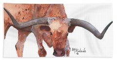 On The Level Texas Longhorn Watercolor Painting By Kmcelwaine Beach Towel