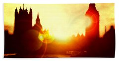 Beach Sheet featuring the digital art Big Ben On The Thames by Fine Art By Andrew David