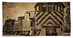 On The Tracks... Take Two. Beach Towel by Peggy Hughes