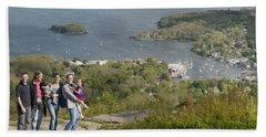 On Top Of Mount Battie Beach Sheet by Daniel Hebard