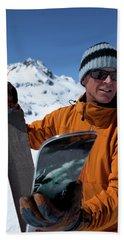 One Backcountry Skier Putting Skins Beach Towel