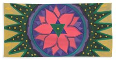 Beach Towel featuring the painting One Gold Bindu by Mini Arora