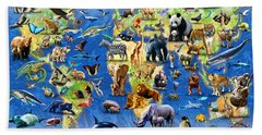 One Hundred Endangered Species Beach Sheet by Adrian Chesterman