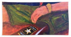 Beach Towel featuring the painting One Team Two Heroes - 2 by Donald J Ryker III