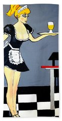 Beach Towel featuring the painting Ooolala French Maid  by Nora Shepley