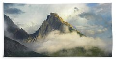 Opal Range In Fog Kananaskis Country Beach Towel