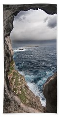 A Natural Window In Minorca North Coast Discover Us An Impressive View Of Sea And Sky - Open Window Beach Sheet by Pedro Cardona