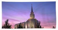 Oquirrh Mountain Temple Iv Beach Towel by Chad Dutson