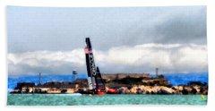 Oracle Team Usa And Alcatraz Beach Towel