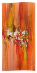 Orange Abstract Landscape Beach Towel