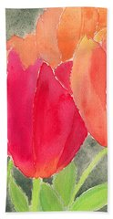 Orange And Red Tulips Beach Towel
