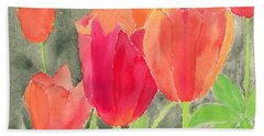 Orange And Red Tulips Beach Sheet
