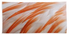 Orange And White Feathers Of A Flamingo Beach Towel