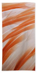 Orange And White Feathers Of A Flamingo Beach Sheet