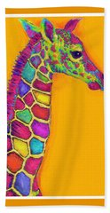 Orange Carosel Giraffe Beach Sheet by Jane Schnetlage