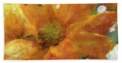 Orange Chrysanthemem Photoart Beach Towel by Debbie Portwood