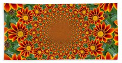 Orange Crazy Daisy Beach Towel