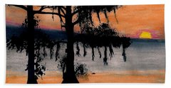 Beach Towel featuring the drawing Orange Cypress Sunset by D Hackett
