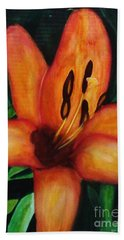 Beautiful Lily Flower Beach Towel