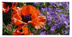 Orange Flowers Beach Towel