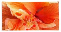 Beach Towel featuring the photograph Orange Hibiscus by Karen Zuk Rosenblatt