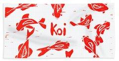 Orange Lazy Koi Beach Towel