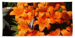 Orange Lilies Beach Towel