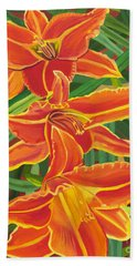 Orange Lilies Beach Sheet