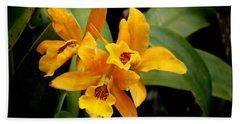 Orange Spotted Lip Cattleya Orchid Beach Towel