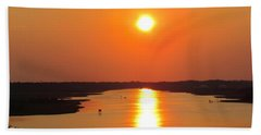 Beach Towel featuring the photograph Orange Sunset by Cynthia Guinn