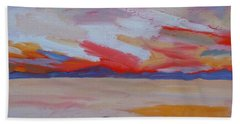 Beach Sheet featuring the painting Orange Sunset by Francine Frank
